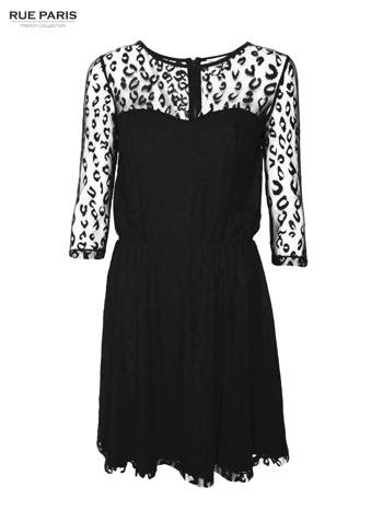 Czarna sukienka pokryta panterkową siateczką                                  zdj.                                  1