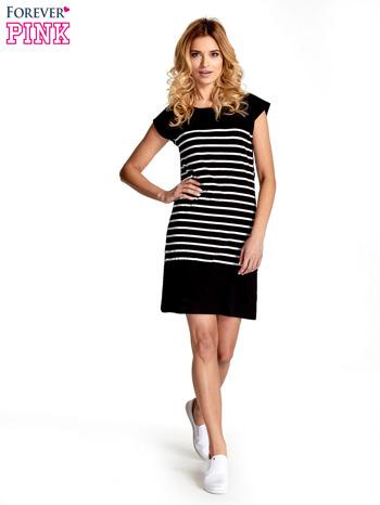 Czarna sukienka w białe paski                                  zdj.                                  7