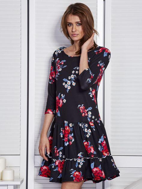 Czarna sukienka w kwiaty z wycięciem na plecach                                  zdj.                                  3