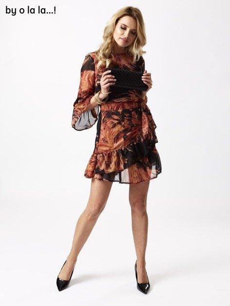 ecf5c6f185 Czarna sukienka w roślinne wzory BY O LA LA - Sukienka koktajlowa ...