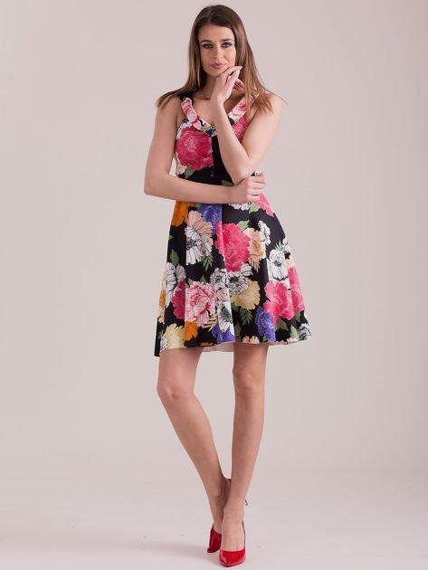 Czarna sukienka we wzór kolorowych kwiatów                              zdj.                              4