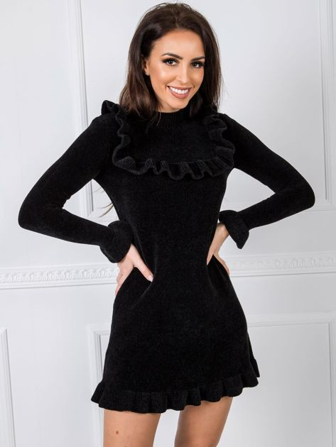 Czarna sukienka welurowa BSL
