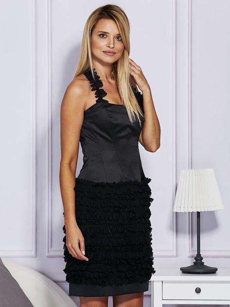 Czarna sukienka z bogato zdobioną spódnicą                               zdj.                              5
