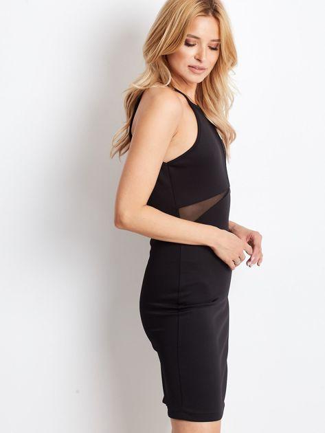 Czarna sukienka z dekoltem halter i siateczkowymi wstawkami                              zdj.                              3