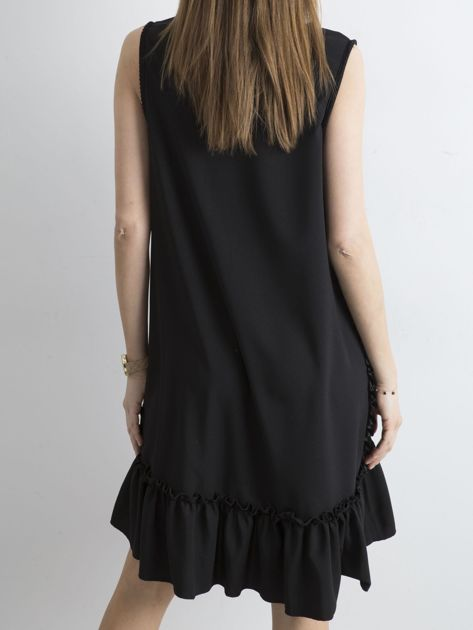 Czarna sukienka z falbaną                              zdj.                              2