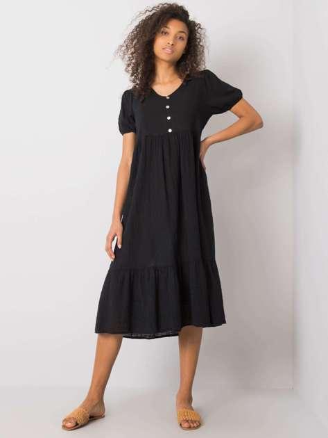 Czarna sukienka z falbaną Eseld OCH BELLA
