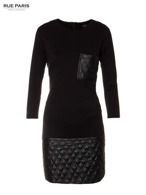 Czarna sukienka z kieszonką i dołem z pikowanej skóry                                  zdj.                                  5