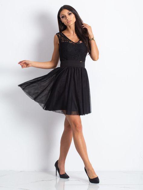 Czarna sukienka z koronkową górą                                  zdj.                                  5