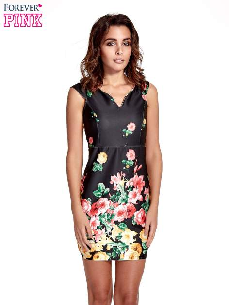 Czarna sukienka z kwiatowym nadrukiem                                  zdj.                                  1