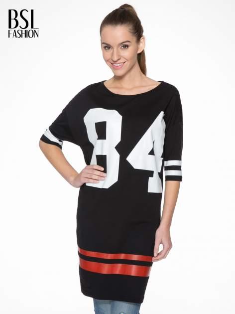Czarna sukienka z numerem w stylu baseball dress
