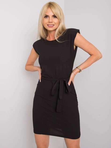 Czarna sukienka z paskiem Dimitra RUE PARIS