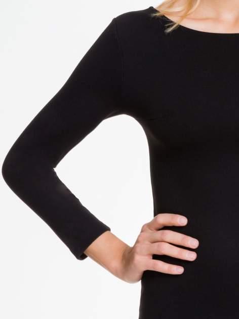 Czarna sukienka z rozkloszowanym dołem ze skóry                                  zdj.                                  6