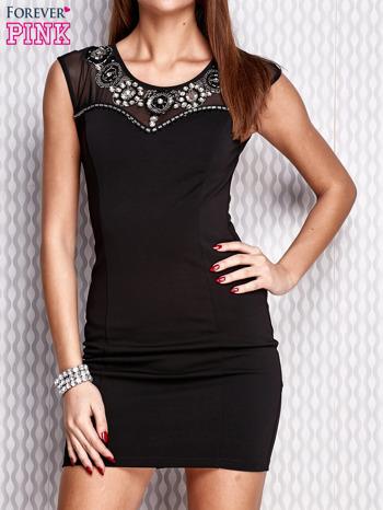 Czarna sukienka z siateczkowym dekoltem i aplikacją                                  zdj.                                  1