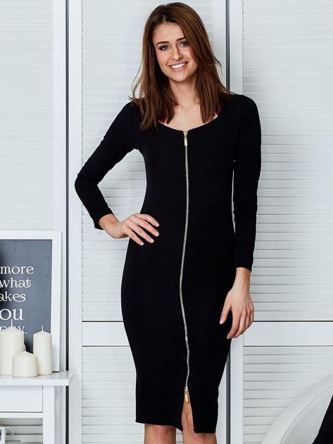 Czarna sukienka z suwakiem                                  zdj.                                  1