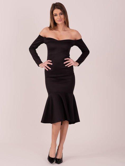Czarna sukienka z szeroką falbaną na dole                              zdj.                              4