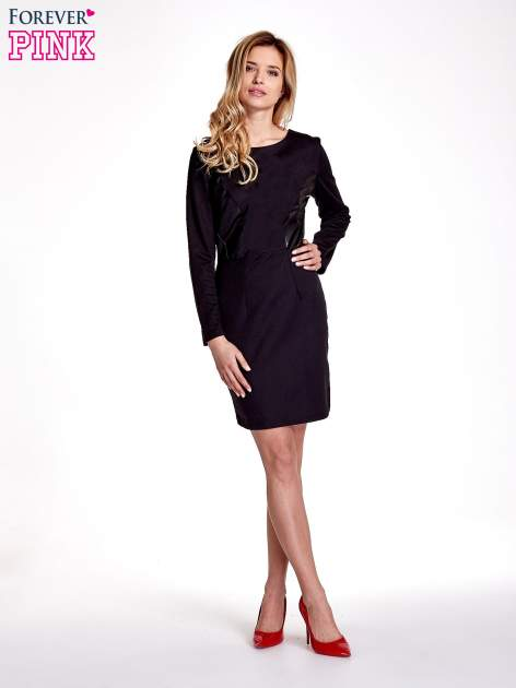 Czarna sukienka ze skórzanymi wstawkami                                  zdj.                                  7