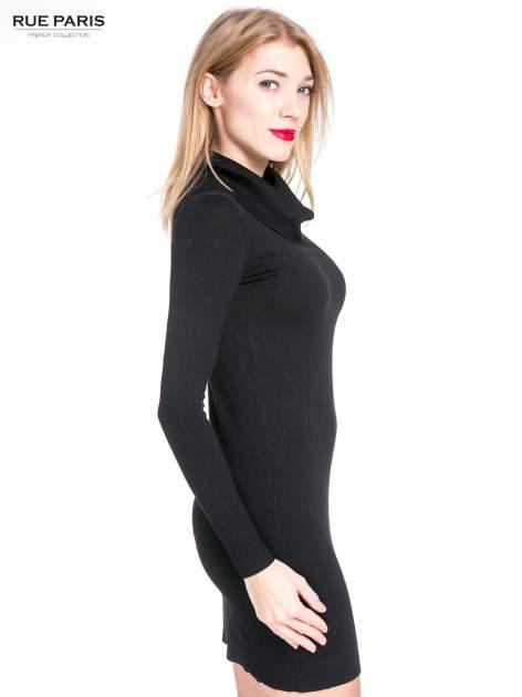 Czarna swetrowa sukienka z golfem                                  zdj.                                  5