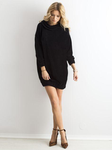 Czarna sztruksowa sukienka                              zdj.                              4