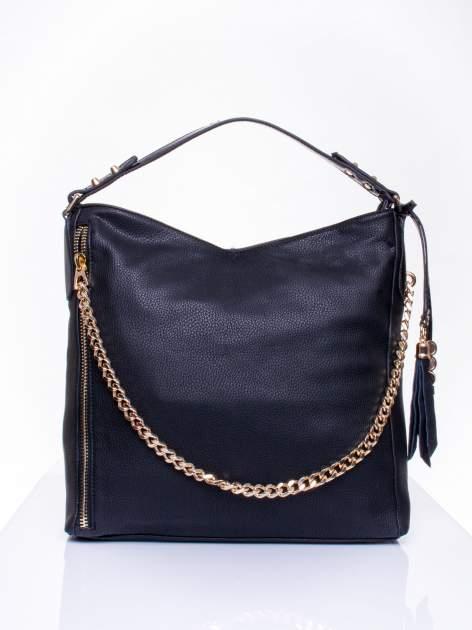 Czarna torba hobo ze złotym łańcuchem i chwostem                                  zdj.                                  1