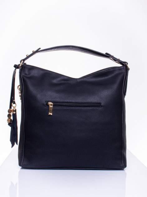 Czarna torba hobo ze złotym łańcuchem i chwostem                                  zdj.                                  3