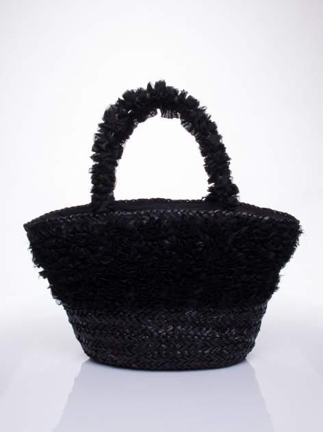 Czarna torba koszyk plażowy z ozdobnymi kwiatami                                  zdj.                                  2