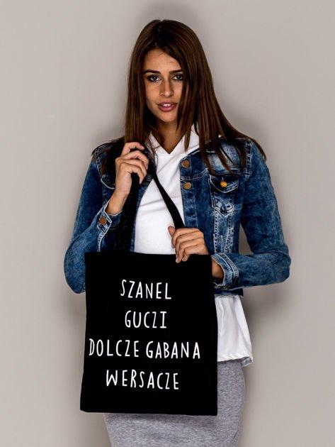 Czarna torba materiałowa SZANEL GUCZI DOLCZE GABANA WERSACZE                               zdj.                              3