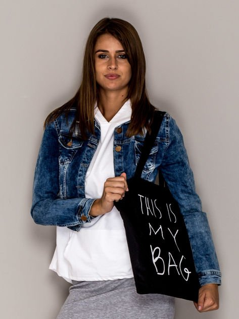 Czarna torba materiałowa THIS IS MY BAG                                  zdj.                                  1