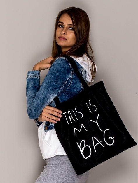 Czarna torba materiałowa THIS IS MY BAG                                  zdj.                                  2