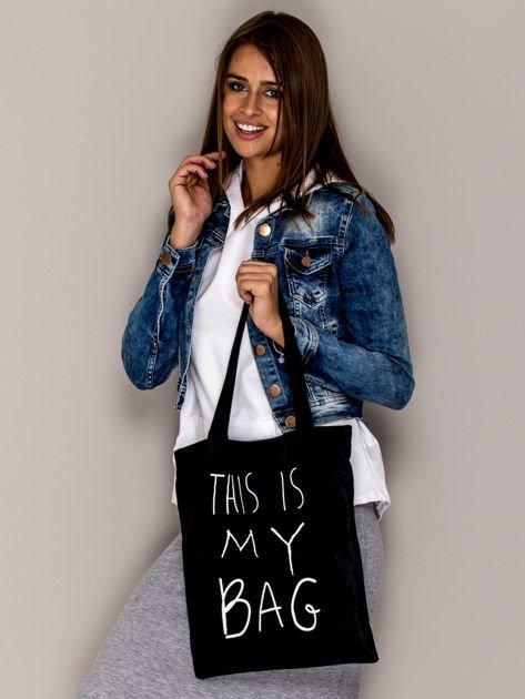 Czarna torba materiałowa THIS IS MY BAG                                  zdj.                                  3