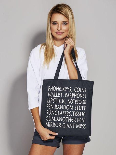 Czarna torba materiałowa z nadrukiem                                  zdj.                                  1