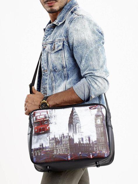 Czarna torba męska na ramię z motywem Londynu                              zdj.                              1
