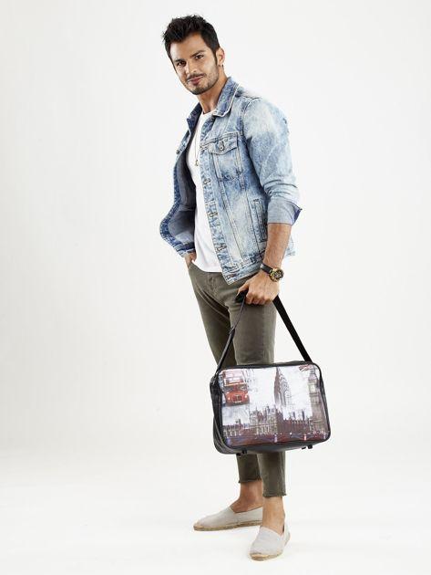 Czarna torba męska na ramię z motywem Londynu                              zdj.                              3