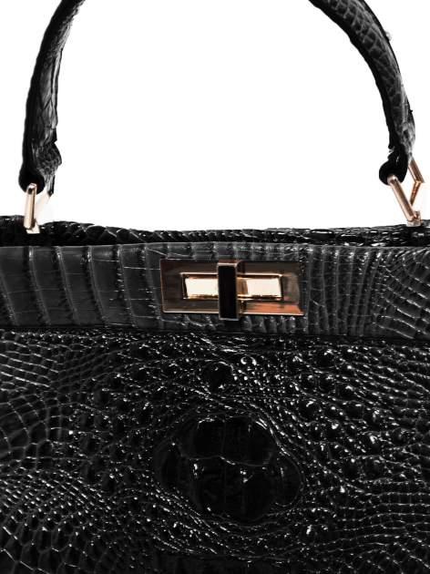 Czarna torba miejska z efektem krokodylej skóry                                  zdj.                                  3