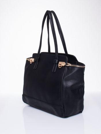 Czarna torba na ramię z dekoracyjnym suwakiem                                  zdj.                                  3