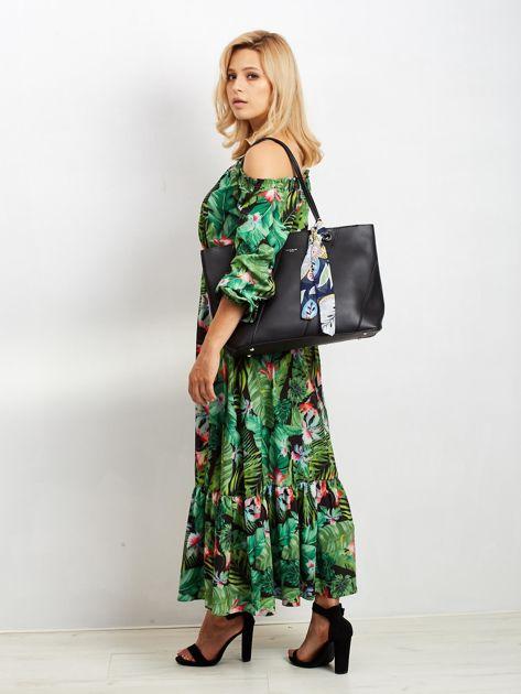 Czarna torba shopper bag z apaszką                              zdj.                              5