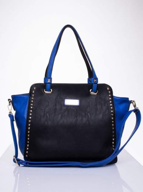 Czarna torba shopper bag z ozdobnymi ćwiekami                                  zdj.                                  1