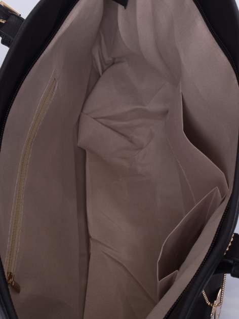 Czarna torba shopper bag z regulowanymi rączkami                                  zdj.                                  5