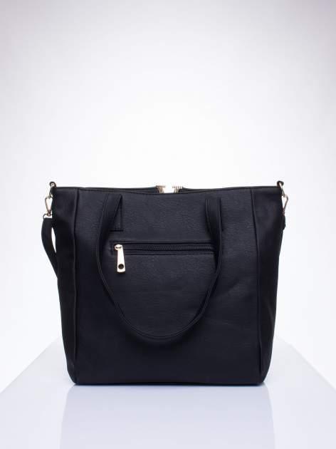 Czarna torba shopper bag ze kieszeniami na klapki                                  zdj.                                  3