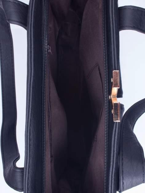 Czarna torba shopper bag ze kieszeniami na klapki                                  zdj.                                  4