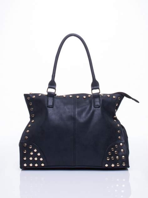Czarna torba shopper bag ze złotymi ćwiekami