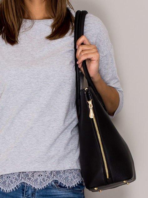 Czarna torba shopper bag ze złotymi suwakami                                  zdj.                                  2