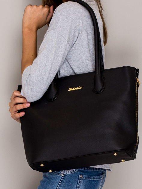 Czarna torba shopper bag ze złotymi suwakami                                  zdj.                                  4