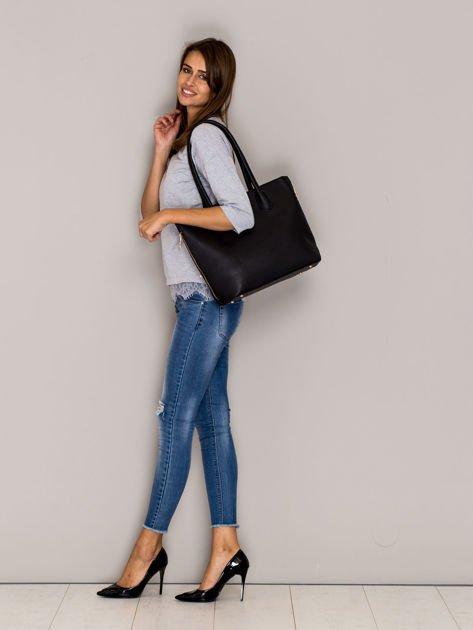 Czarna torba shopper bag ze złotymi suwakami                                  zdj.                                  3