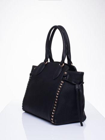Czarna torba shopper bag ze złotymi wstawkami                                  zdj.                                  3