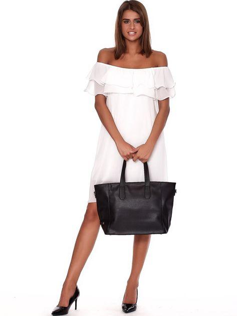 Czarna torba shopper z ażurowaniem i odpinanym paskiem                              zdj.                              1