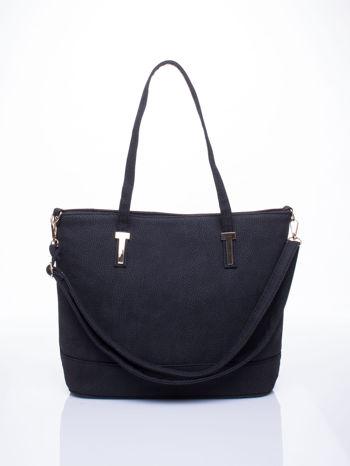 Czarna torba shopperka z odczepianym paskiem