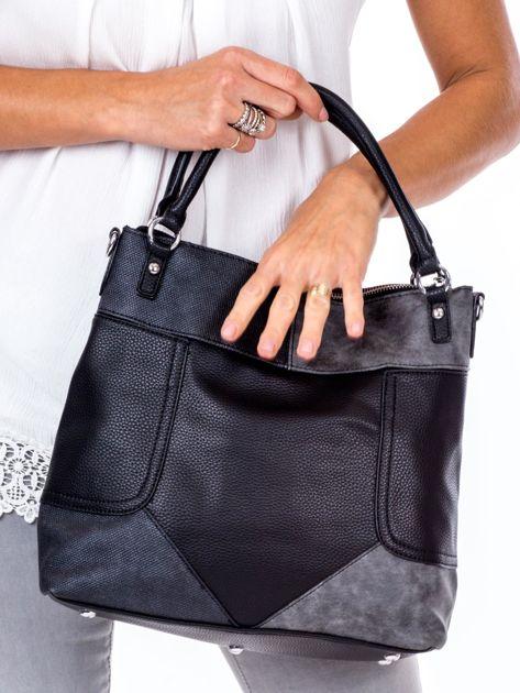 Czarna torba z łączonych materiałów                              zdj.                              4