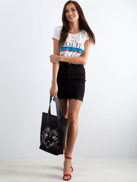 Czarna torba z nadrukiem kota                              zdj.                              4