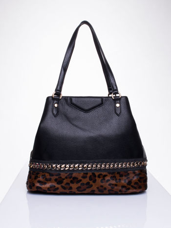 Czarna torba z panterkowym motywem