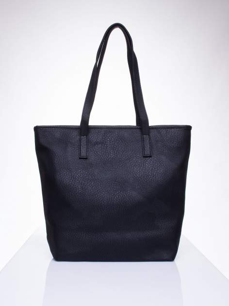 Czarna torebka shopper bag z kokardką                                  zdj.                                  4
